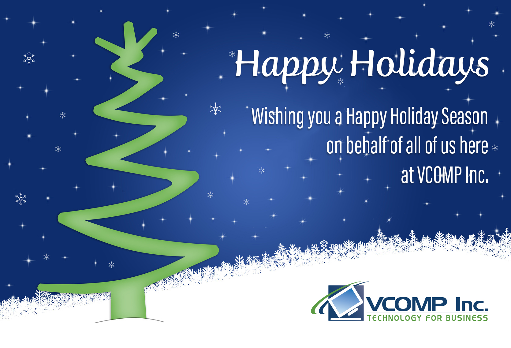 Happy Holidays From Us At Vcomp Vcomp Inc